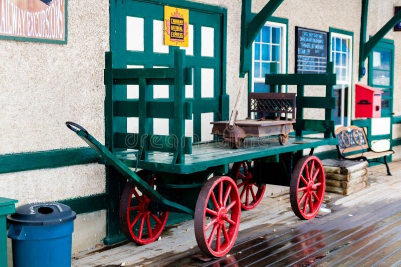 Estação de caminhos-de-ferro histórico, vale grande, Alberta, Canadá imagem de stock royalty free