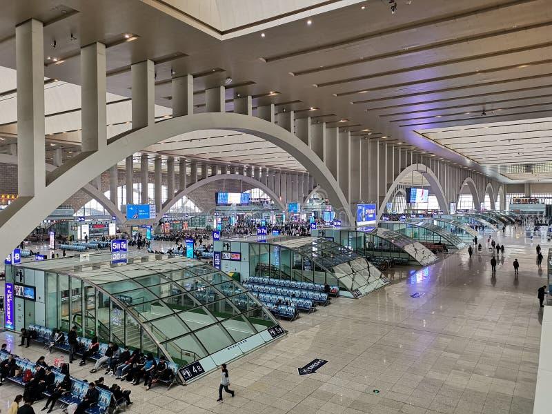 Estação de caminhos de ferro @ Shijiazhuang, Hebei China foto de stock royalty free
