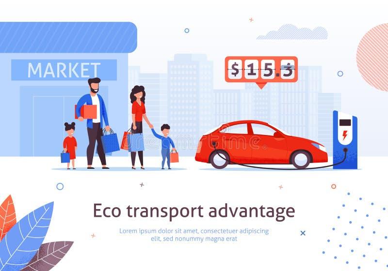 Estação de carregamento do carro elétrico no estacionamento do mercado ilustração royalty free