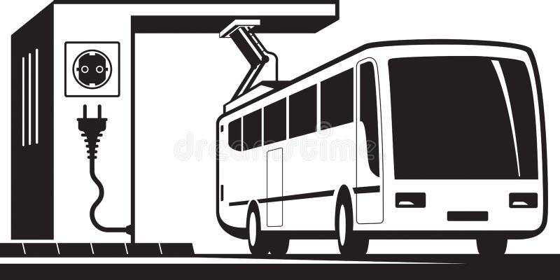 Estação de carregamento elétrica do ônibus ilustração stock