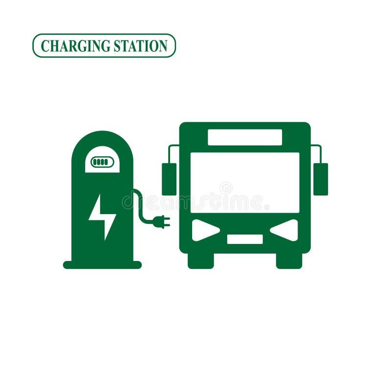 Estação de carregamento elétrica do ônibus ilustração royalty free