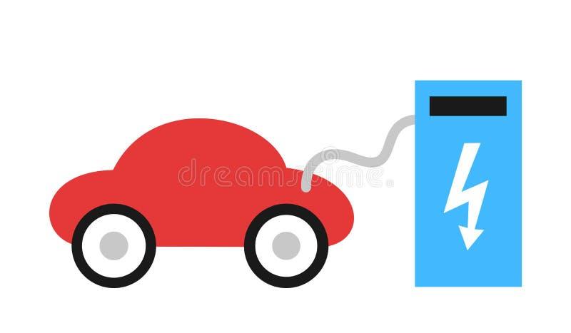 Esta??o de carregamento para a eletro mobilidade O carro el?trico e o autom?vel s?o tomada de poder dentro obstru?da ilustração do vetor