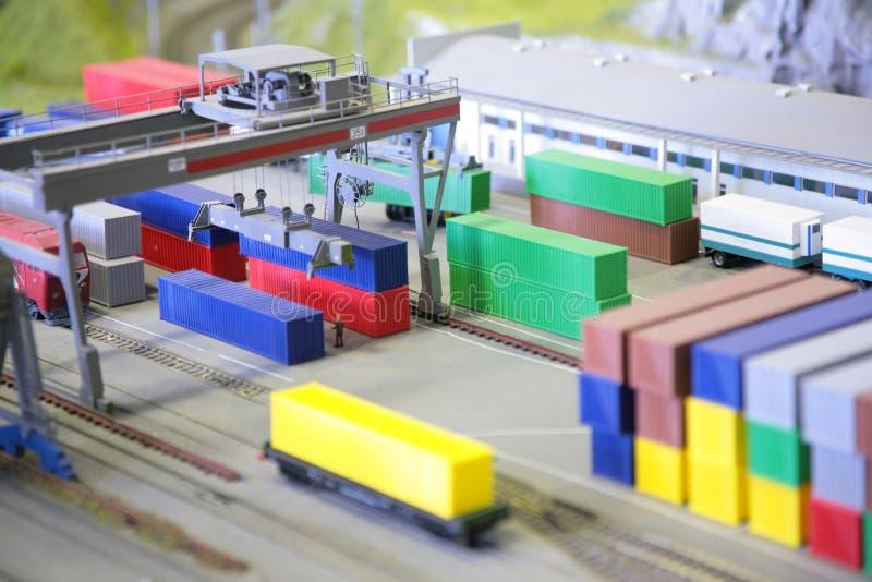 Estação de comboio modelo da mercadoria imagem de stock