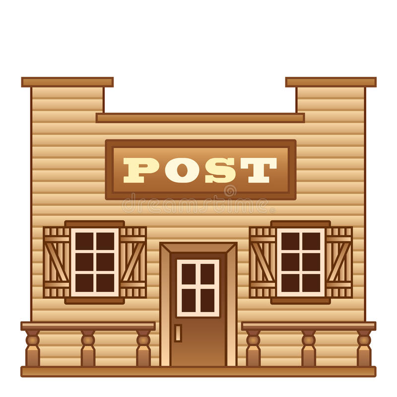 Estação de correios ocidental selvagem ilustração do vetor