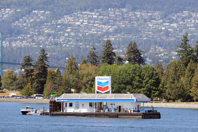 Estação de flutuação do combustível para planos e barcos do flutuador em Vancôver, Canadá foto de stock