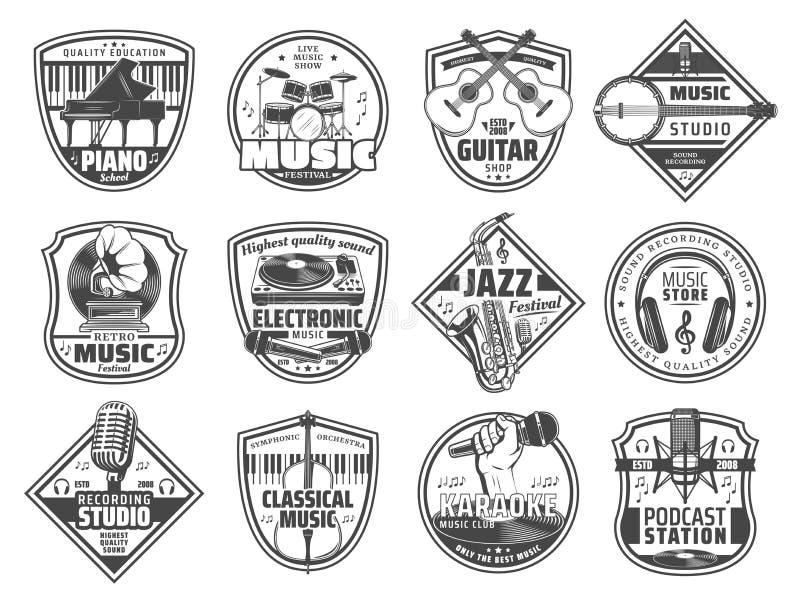 Estação de música, ícones do estúdio de gravação sonora ilustração stock