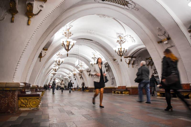 Estação de metro de Arbatskaya - Moscou, Rússia foto de stock