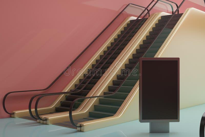 Estação de metro com cartaz ilustração royalty free