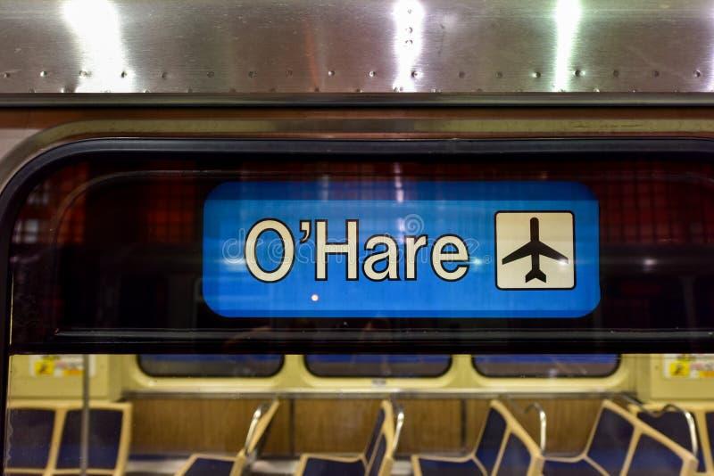 Estação de metro do aeroporto de O'Hare - Chicago foto de stock royalty free