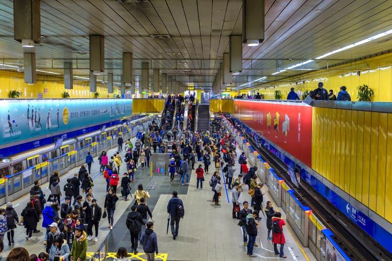 Estação de metro em Taipei, Taiwan fotografia de stock royalty free