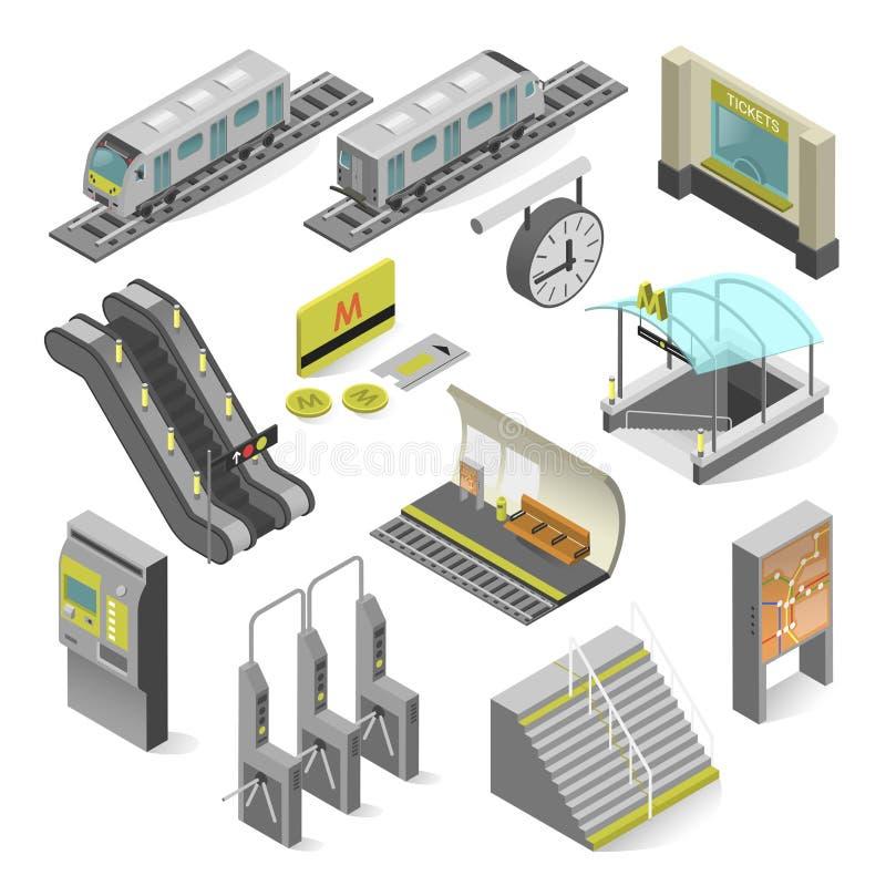 Estação de metro isométrica ilustração royalty free