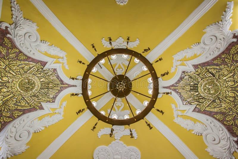 Estação de metro de Komsomolskaya, teto - Moscou, Rússia imagens de stock royalty free