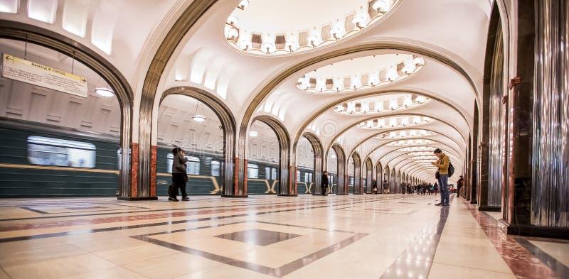 Estação de metro de Mayakovskaya - Moscou, Rússia fotografia de stock