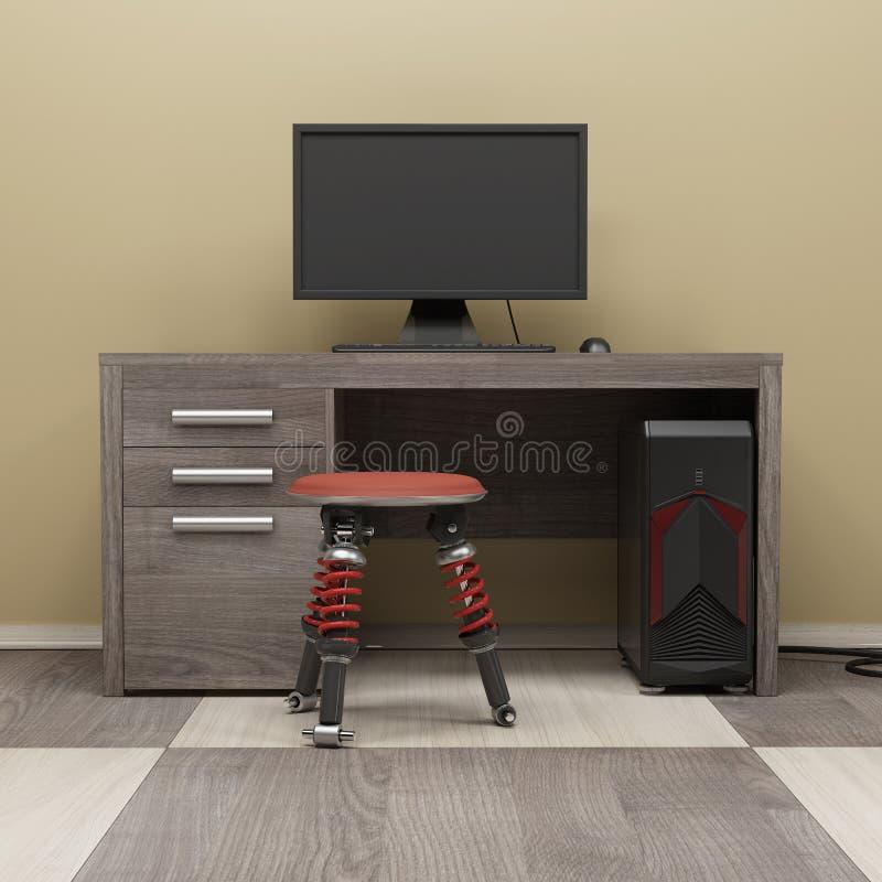 A estação de trabalho 3d do computador rende ilustração do vetor