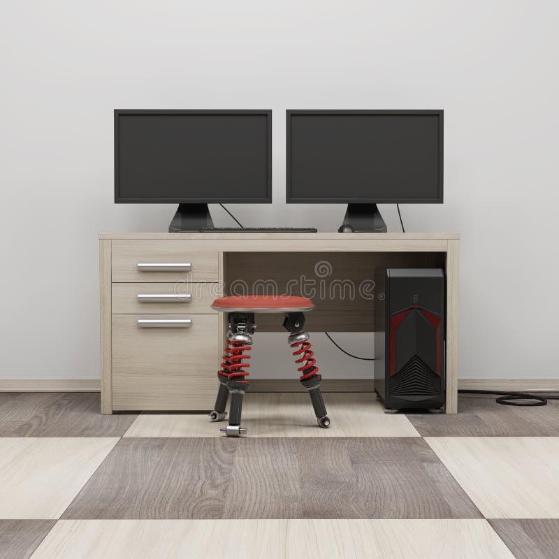 A estação de trabalho 3d do computador rende ilustração stock