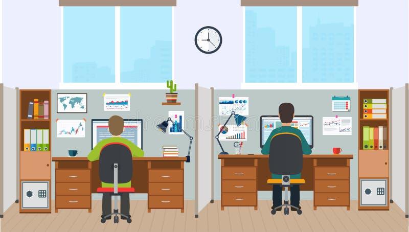 Estação de trabalho, interior do escritório com empregados O espaço de escritórios com t ilustração do vetor