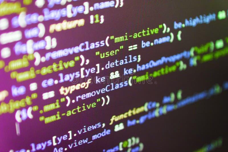 Estação de trabalho de Webdesigner Código fonte do software Design do site Dados e Internet grandes da tendência das coisas fotografia de stock