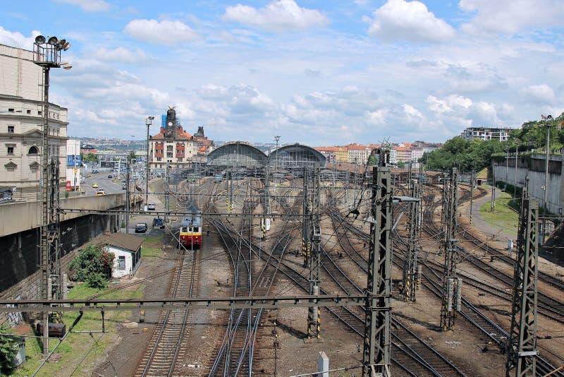 Estação de trem central em Praga fotos de stock