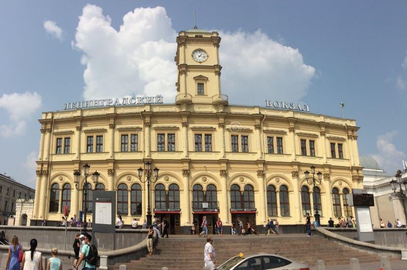 Estação de trem de Leninsgradkiy no quadrado de Komsomolskaya, Moscou fotografia de stock