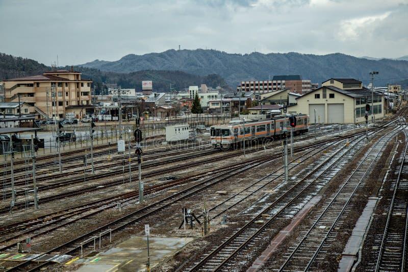 Estação de trem japonesa na estação de Hida-Takayama fotografia de stock