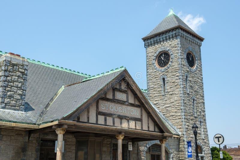 Estação de trem de Stoughton, Massachusetts, EUA fotografia de stock royalty free