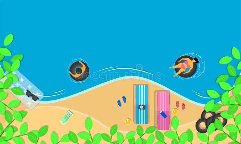Estação de verão a folha da vista superior em torno das flores das cadeiras nada sunglass do anel na praia e a mulher do homem re ilustração stock