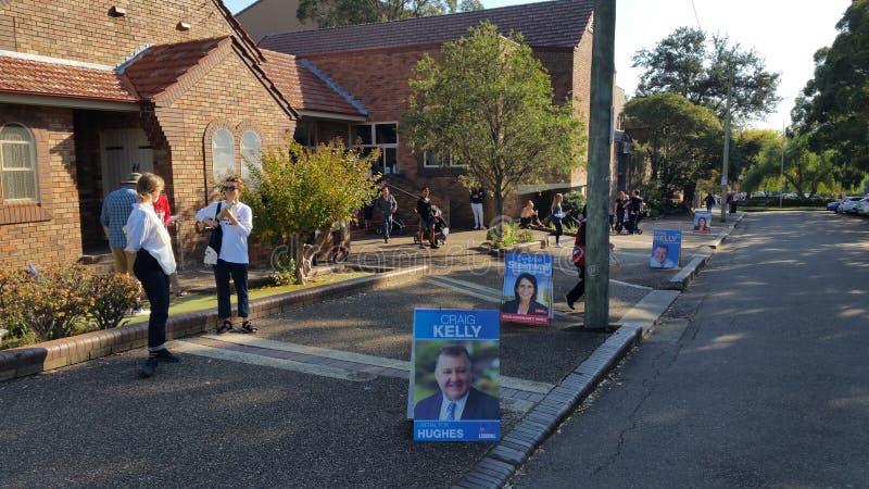 Estação de votação federal australiana da eleição 2019 no subúrbio de Sydney foto de stock