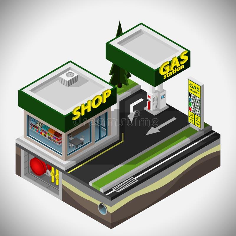 A estação do combustível ilustração stock