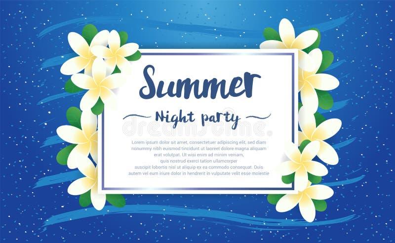 A estação do cumprimento do partido da noite de verão com Plumeria floresce o quadro o ilustração stock