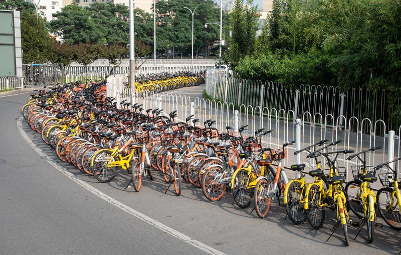 Estação do estacionamento da bicicleta imagens de stock royalty free