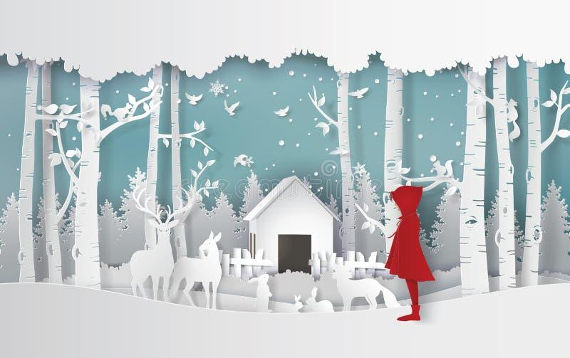 Estação do inverno com a menina no revestimento vermelho e no animal no ju ilustração royalty free