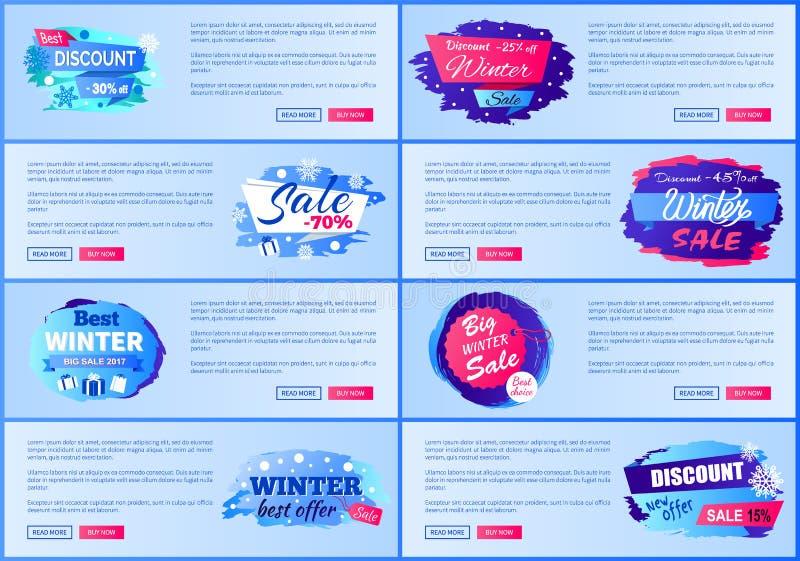 A estação do inverno desconta cartazes da Web da propaganda ilustração do vetor