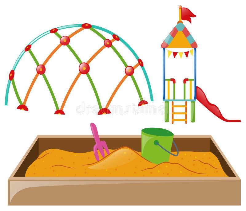 Estação do jogo com corrediça e sandpit ilustração royalty free