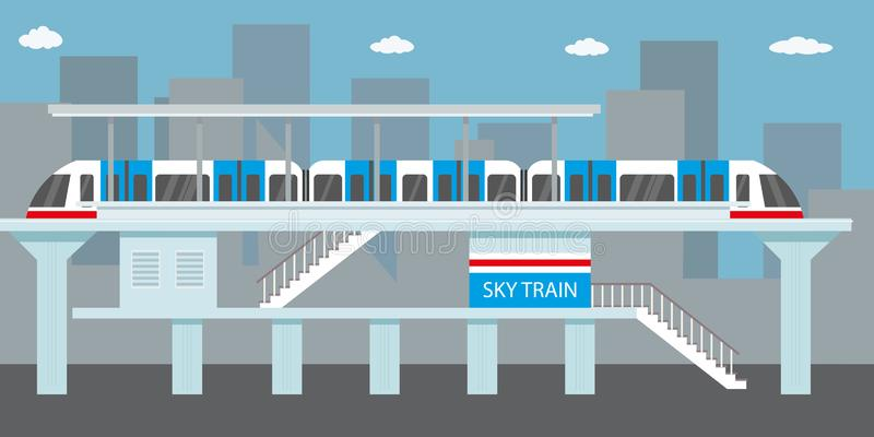 Estação do metro ou do skytrain, metro da cidade ilustração royalty free