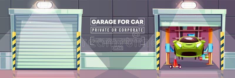 A estação do reparo da garagem do carro, rolo do vetor shutters ilustração royalty free