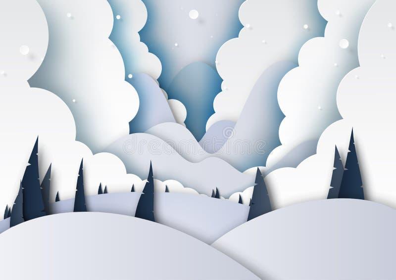 A estação e as montanhas do inverno ajardinam o estilo da arte do papel de fundo ilustração royalty free
