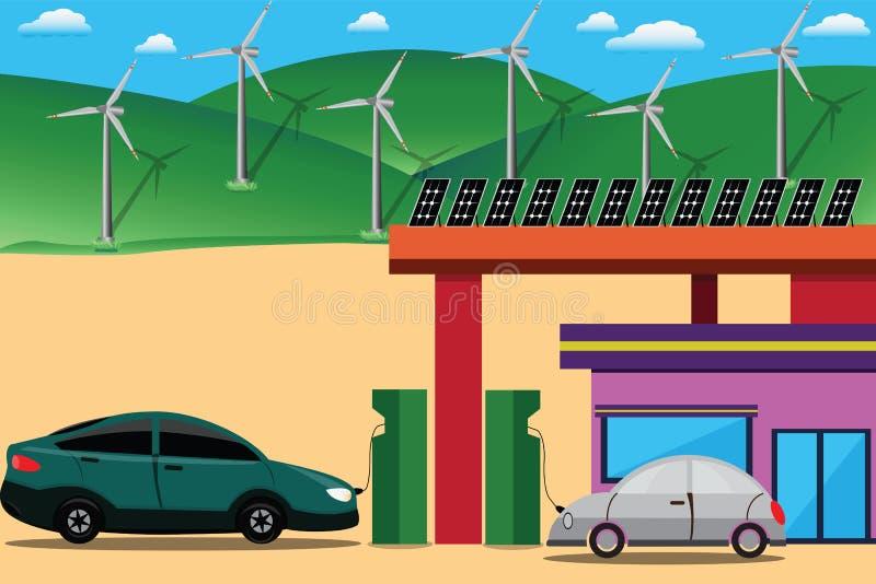 Estação elétrica, carregador bonde, veículo elétrico pessoal - VE ilustração do vetor