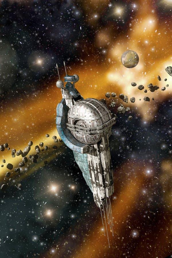 Estação espacial e asteroides ilustração royalty free