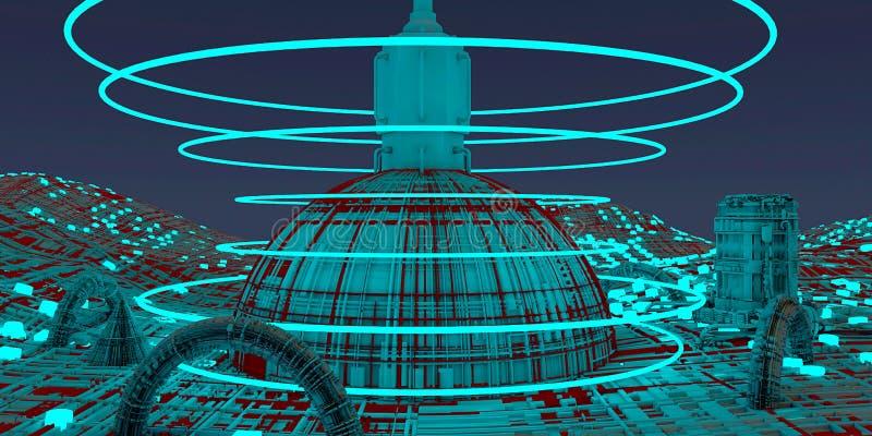 Estação espacial, nave espacial, cidades do futuro, ficção científica, ficção científica, placas paralelas, centros urbanos, unid ilustração do vetor