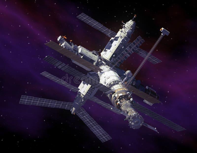 Estação espacial no espaço. ilustração do vetor