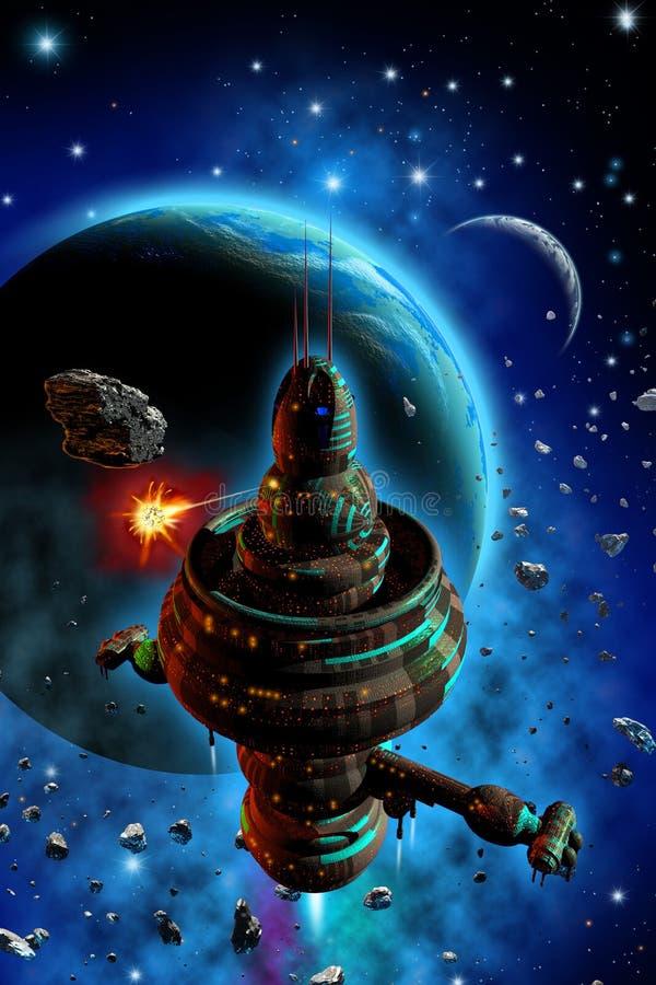Estação espacial orbitando em torno de um sistema planetário, nebulosa e asteroides, estrelas brilhantes, ilustração 3d ilustração royalty free