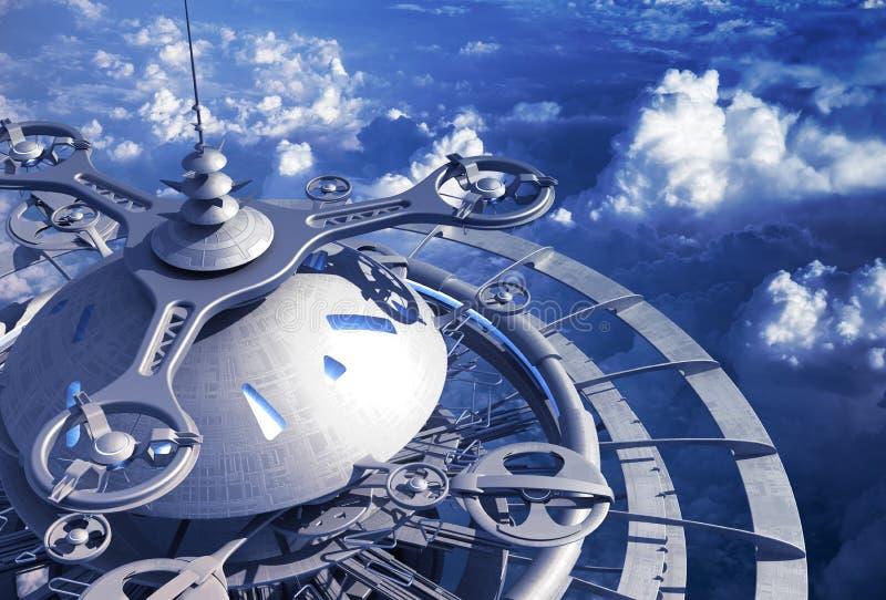 Estação futurista do voo acima das nuvens ilustração do vetor