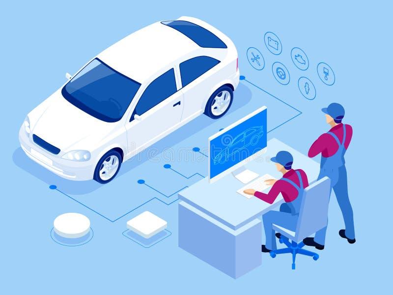 Estação isométrica do serviço de reparação de automóveis Trabalhadores na ilustração do vetor do serviço do pneu do serviço do ca ilustração stock