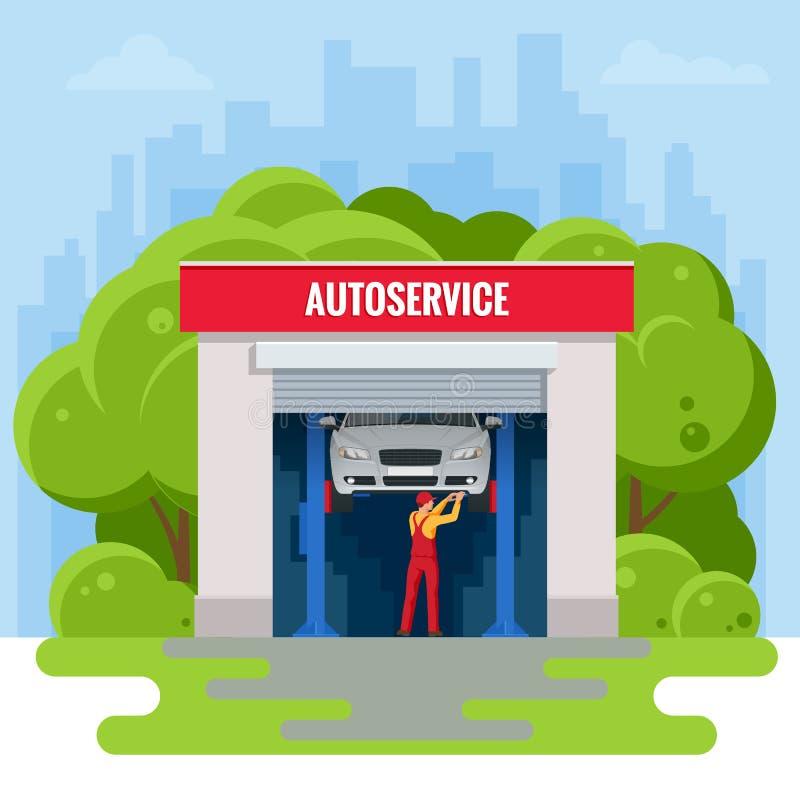 Estação isométrica do serviço de reparação de automóveis Trabalhadores na ilustração do vetor do serviço do pneu do serviço do ca ilustração royalty free