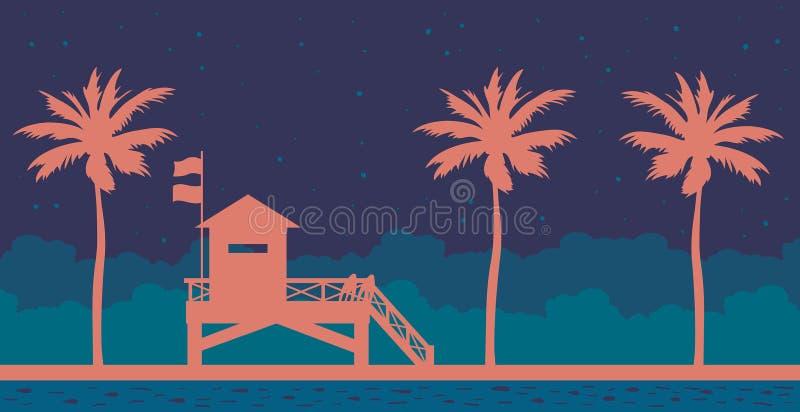 Estação, mar, céu noturno e praia da salva-vidas ilustração royalty free