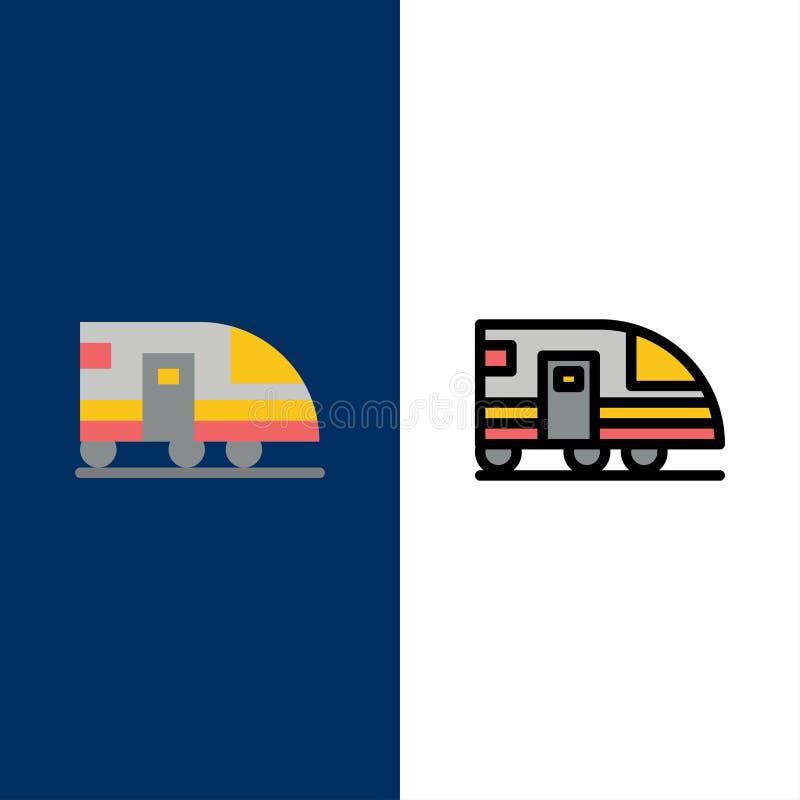 Estação, metro, trem, ícones do transporte O plano e a linha ícone enchido ajustaram o fundo azul do vetor ilustração royalty free