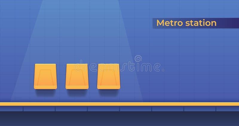 Estação subterrânea do metro com uma plataforma para que os passageiros e os assentos de aterrissagem esperem o trem Plataforma d ilustração royalty free