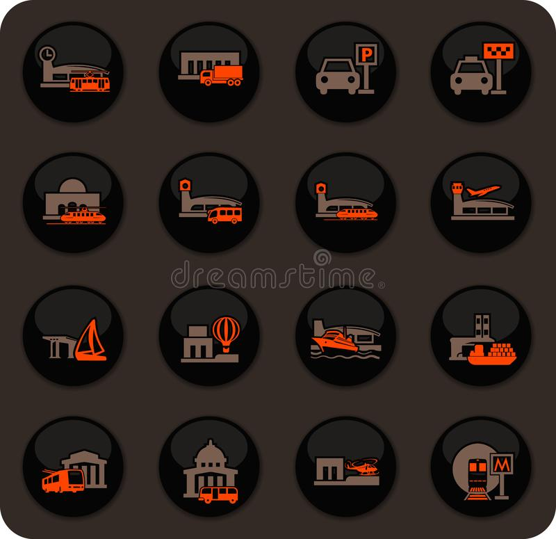 Estações dos ícones do transporte público ajustados ilustração do vetor