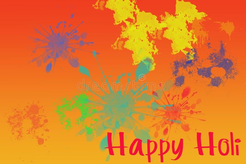 Estações felizes do festival de Holi que cumprimentam com respingo da cor ilustração do vetor