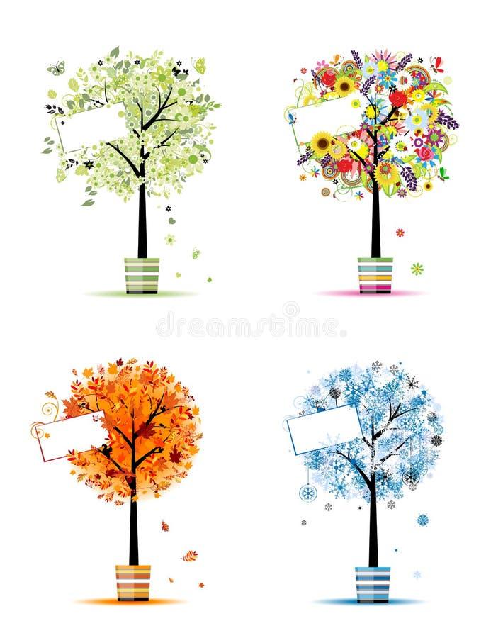 Estações - mola, verão, outono, árvores do inverno ilustração stock
